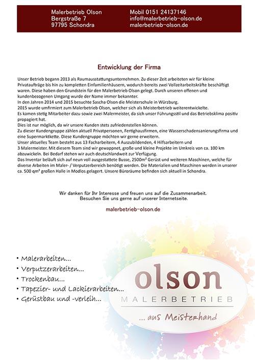 Malerbetrieb Olson Betriebsvorstellung