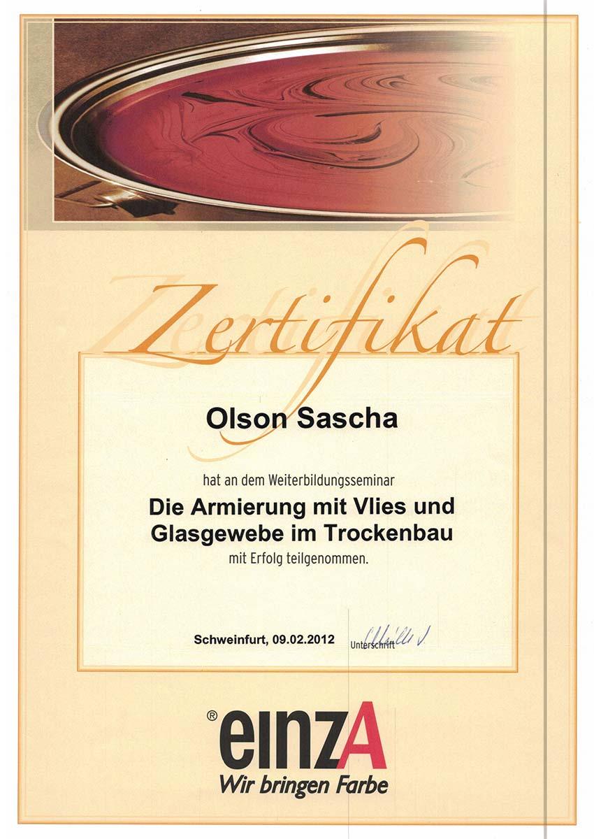 Zertifikate Weiterbildung Malerbetrieb Olson in Schondra